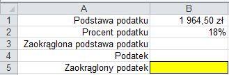 Zaokrąglanie liczb funkcją ZAOKR() - formatka