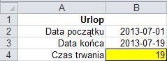 Różnica dat: ile dni trwał mój urlop - wynik
