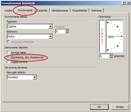 Jak wyświetlić baaardzo długi wpis w komórce - zmniejszaj, aby dopasować