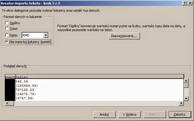 Import pliku tekstowego a niepotrzebne spacje - import tekstu krok 3