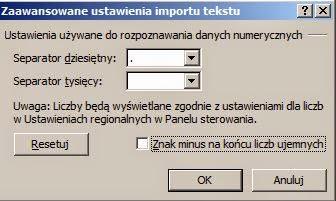 Import pliku tekstowego a niepotrzebne spacje - separator dziesiętny