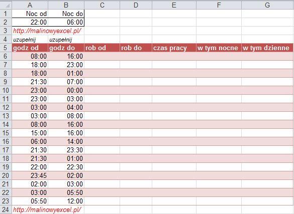 MalinowyExcel czas pracy godziny nocne: tabela danych