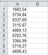 MalinowyExcel Jak zamienić kropki na przecinki za pomocą makra VBA efekt po zamianie
