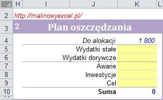 Tabelka do planowania oszczędności