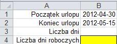 Obliczanie liczby dni roboczych przypadających podczas urlopu - formatka