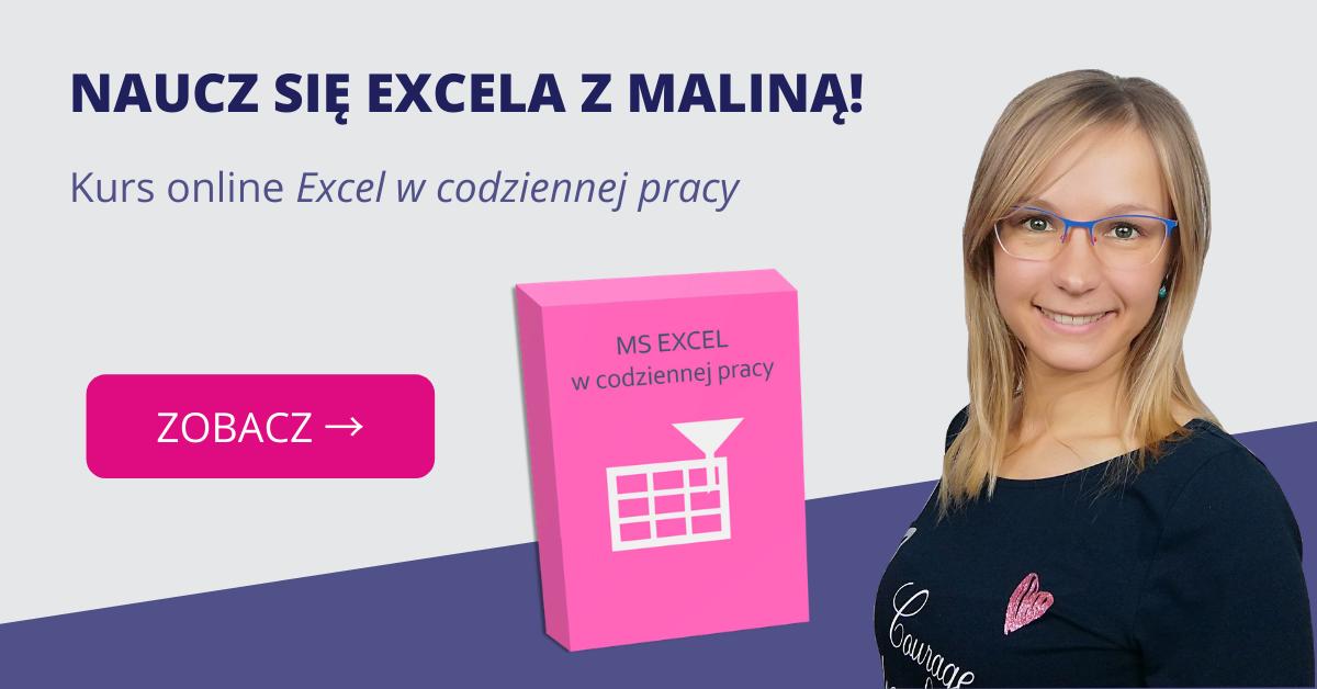 Malinowy Kurs online Excel w codziennej pracy BLOG