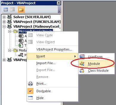MalinowyExcel Jak zamienić kropki na przecinki za pomocą makra VBA - wstawianie modułu