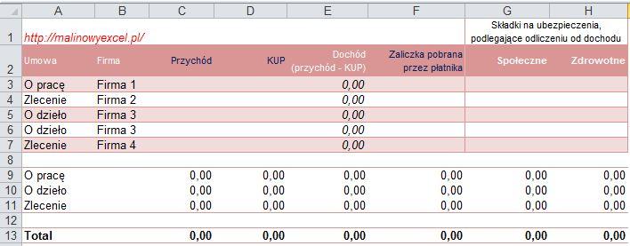 Formatka, przydatna do rozliczania PIT-u, do uzupełnienia
