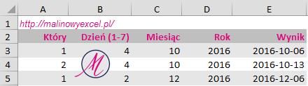 malinowyexcel-pierwszy-czwartek-miesiaca-wynik