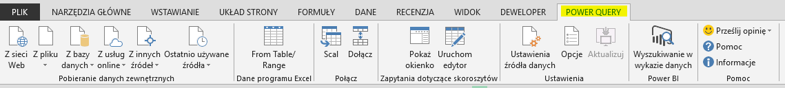 karta Power Query na wstążce