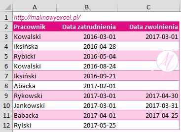 Wykres zatrudnienia - dane wejściowe