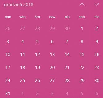 Kalendarz Grudzień 2018
