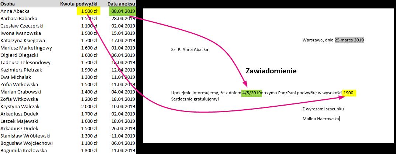 Błędny format daty i liczby w korespondencji seryjnej