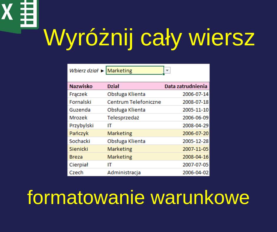 Wyróżnij Cały Wiersz Tabeli Kolorem Malinowy Excel