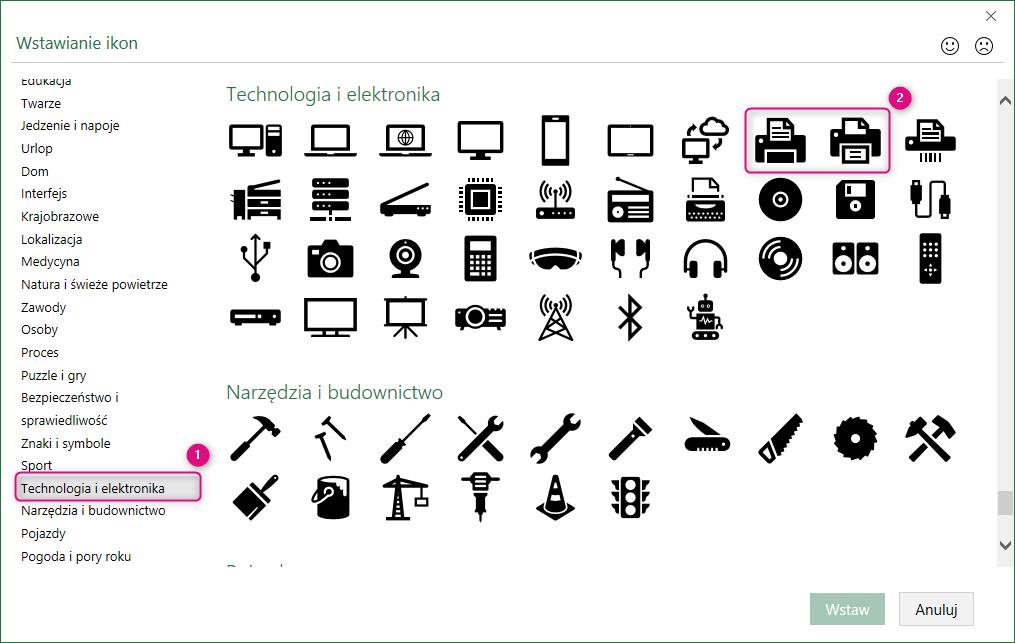 Wybór ikony