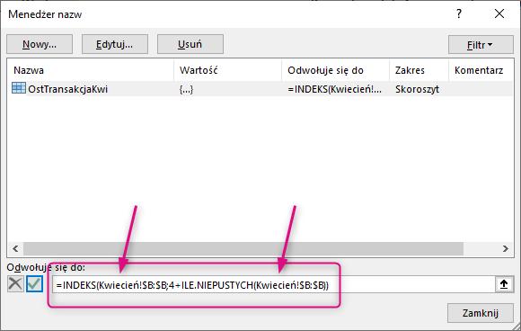 Excel dorzucił nazwy arkuszy