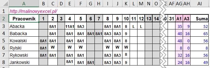 Pierwotna tabelka
