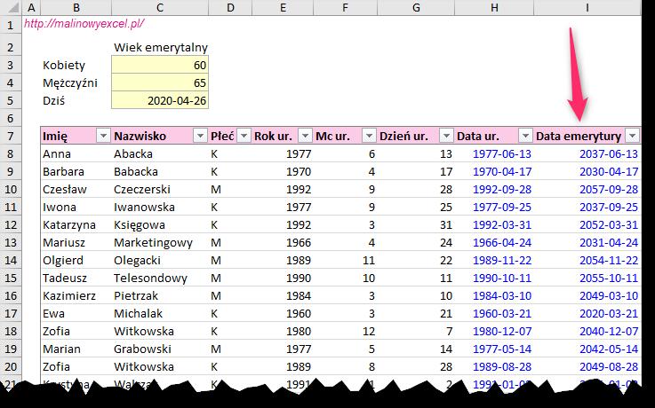 Malinowy Excel w HR Kiedy pracownik na emeryturę Określanie daty emerytury