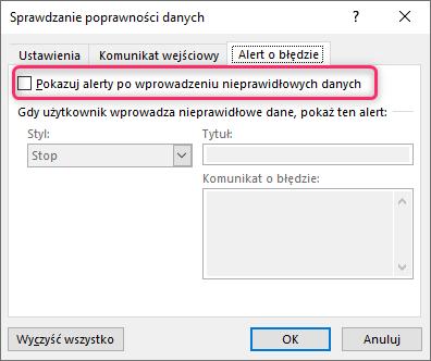 MalinowyExcel Przeszukiwalna lista rozwijana formułami 365 Tworzenie listy rozwijanej - alert o błędzie