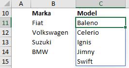 MalinowyExcel Zależna lista rozwijana dynamiczne formuły tablicowe 365 Wynik drugiej formuły